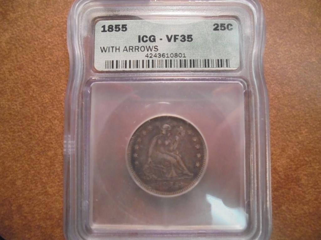 1855 WITH ARROWS SEATED LIBERTY QUARTER ICG VF35