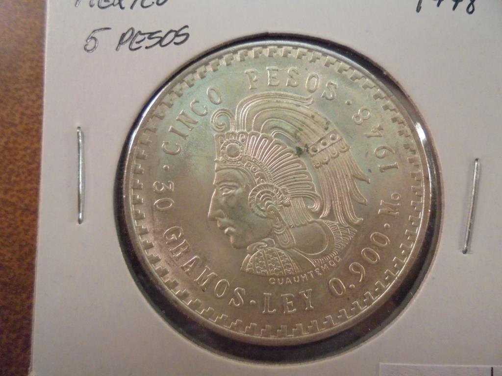 1948 MEXICO SILVER 5 PESOS .8680 OZ. ASW UNC