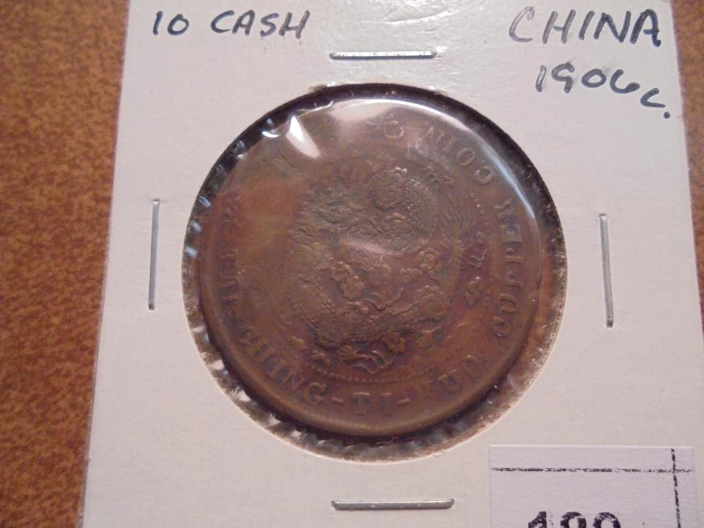 CIRCA 1906 CHINA 10 CASH COIN