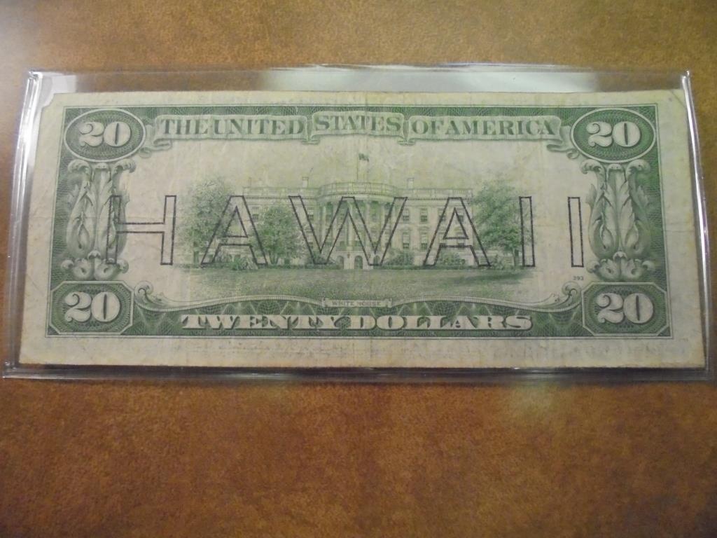 1934-A $20 FRN HAWAIIAN OVERPRINT BROWN SEAL - 2