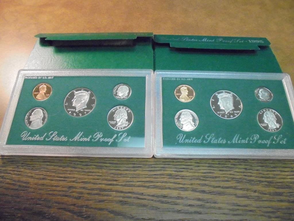 1995 & 1997 US PROOF SETS (WITH BOXES)