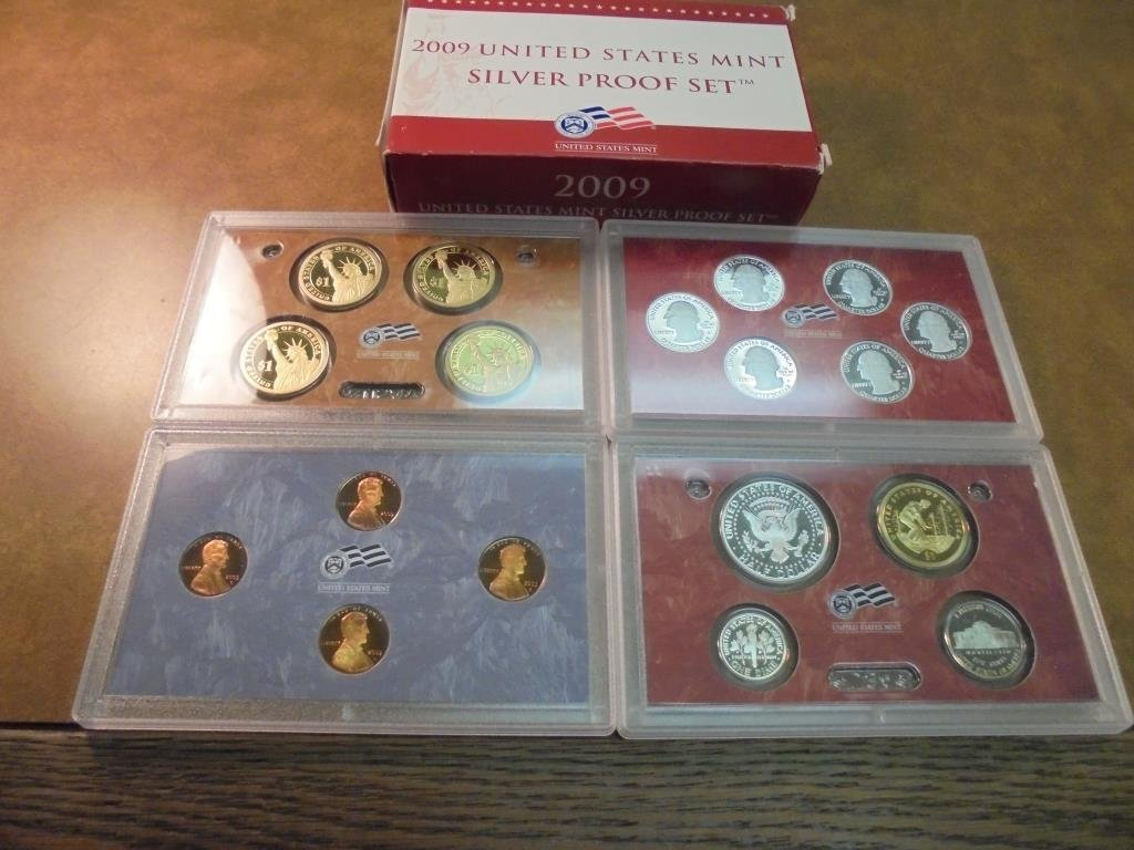2009 US SILVER PROOF SET (WITH BOX) 18 PIECES - 2