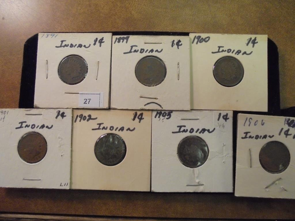 1891,99,1900,01,02,05 & 06 INDIAN HEAD CENTS
