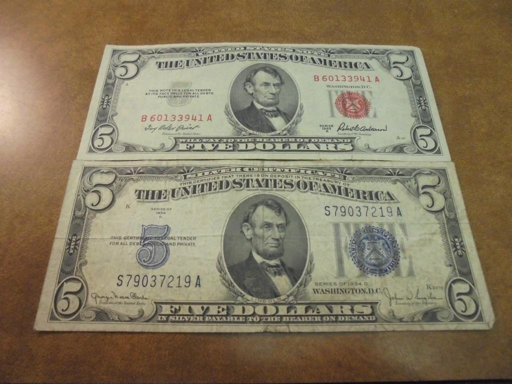 1934-D $5 SILVER CERTIFICATE & 1953-A $5 US NOTE