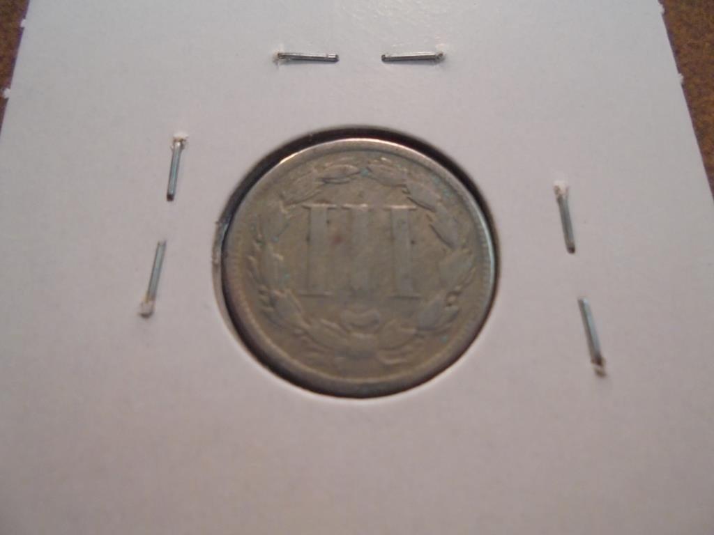1865 THREE CENT PIECE (NICKEL) WITH VIRDIGRIS - 2