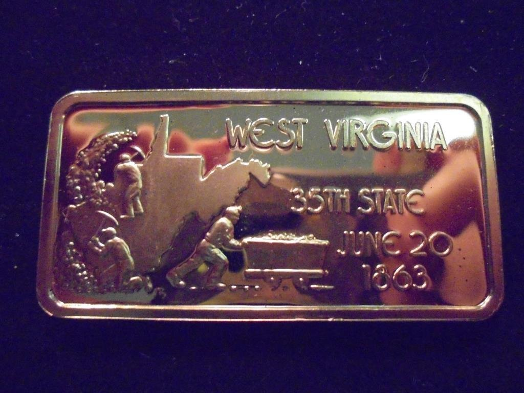 24KT GOLD PLATED SILVER 1 OZ. INGOT WEST VIRGINIA