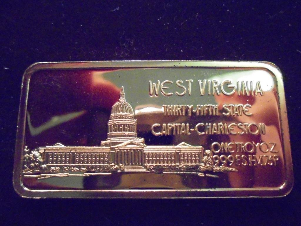 24KT GOLD PLATED SILVER 1 OZ. INGOT WEST VIRGINIA - 2