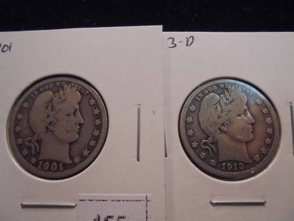 1901 & 1913-D BARBER QUARTERS 1913-D IS VG