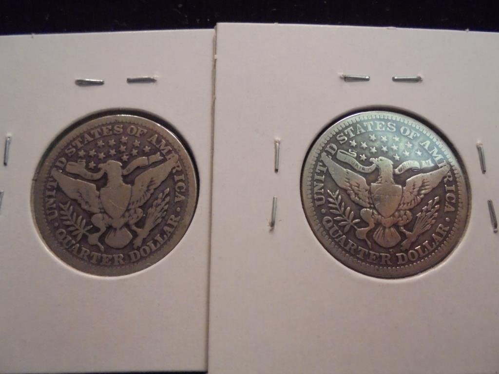1901 & 1913-D BARBER QUARTERS 1913-D IS VG - 2