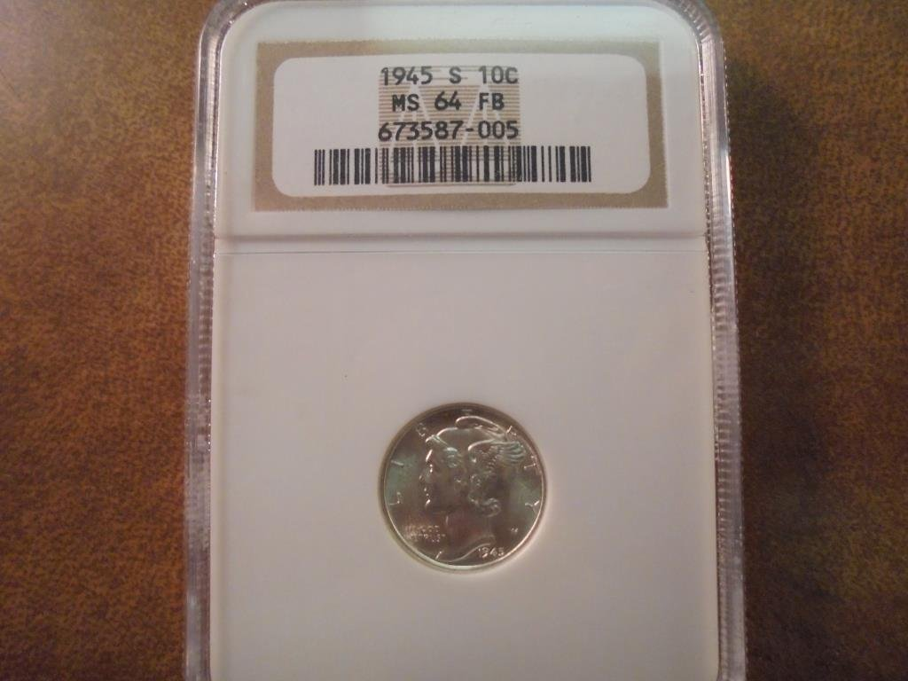 1945-S MERCURY DIME NGC MS64FB