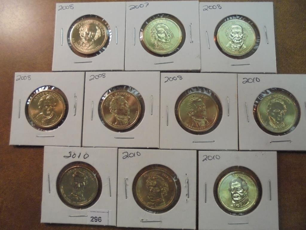 2007, 5-2008 & 4-2010 PRESIDENTIAL DOLLARS UNC
