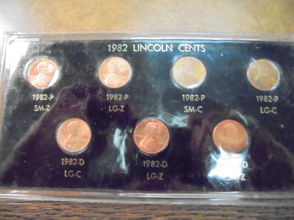 1982-7 VARIETIES LINCOLN CENT SET (UNC)