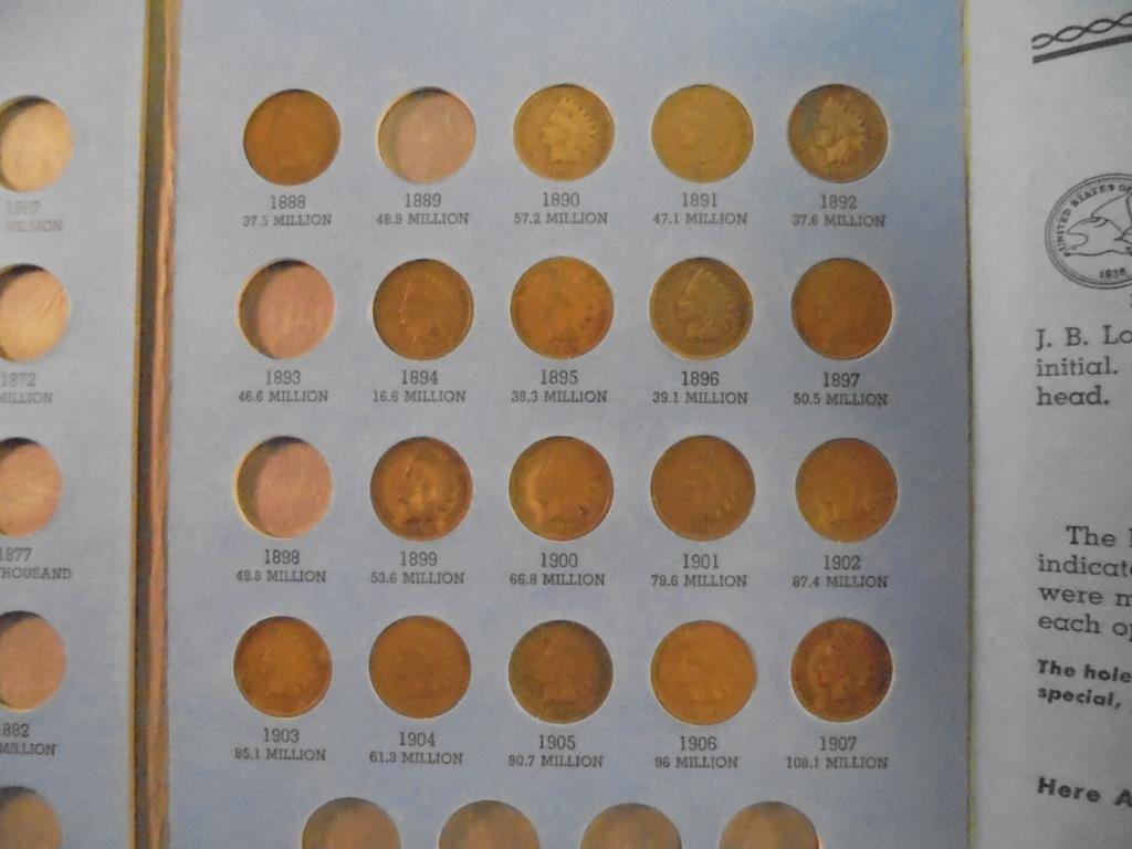 PARTIAL INDIAN HEAD CENT ALBUM 18 COINS