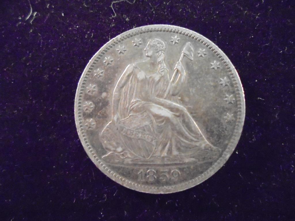 1859-O SEATED LIBERTY HALF DOLLAR BROKEN PIN BACK