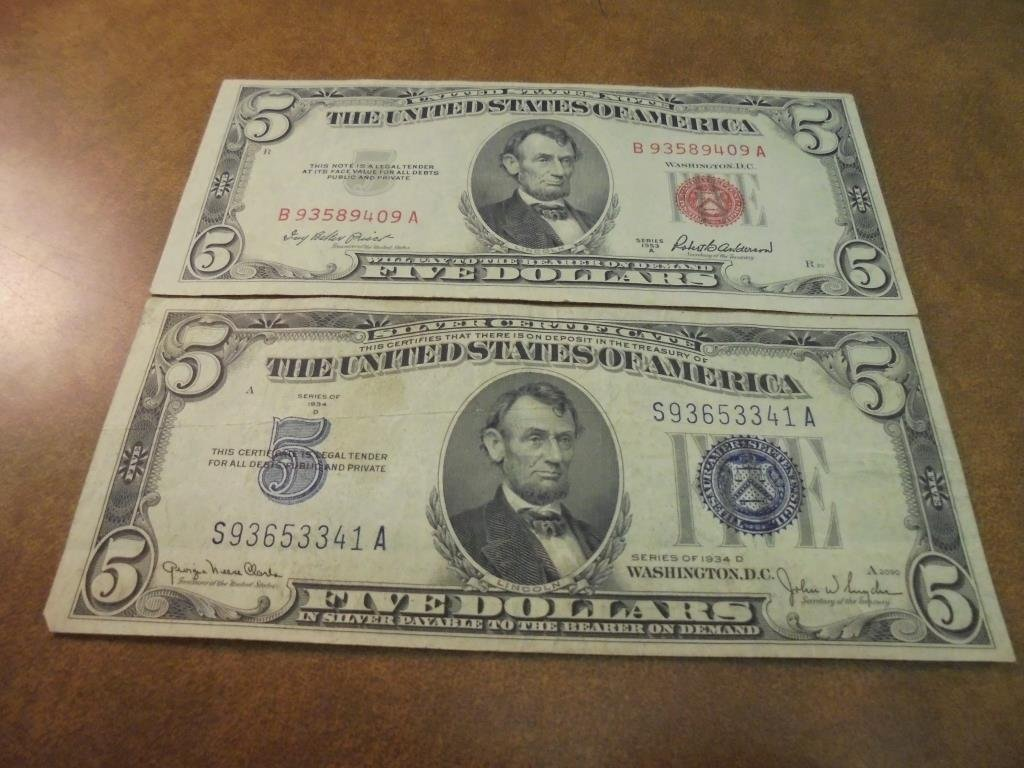 $5 US CURRENCY 1934-D SILVER CERTIFICATE & 1953-A