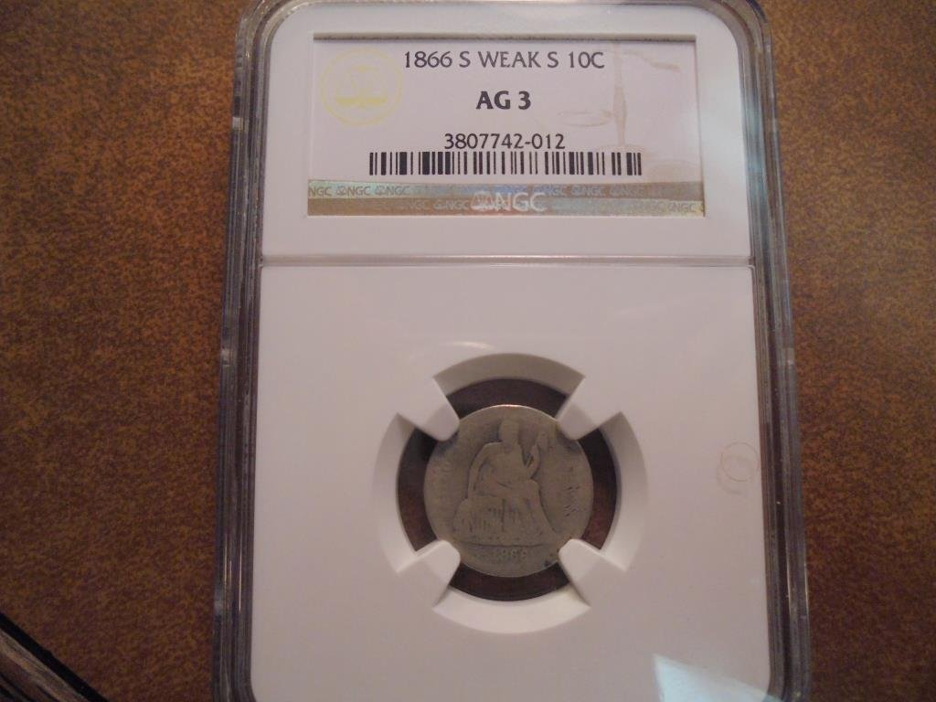 1866-S WEAK S SEATED LIBERTY DIME NGC AG3