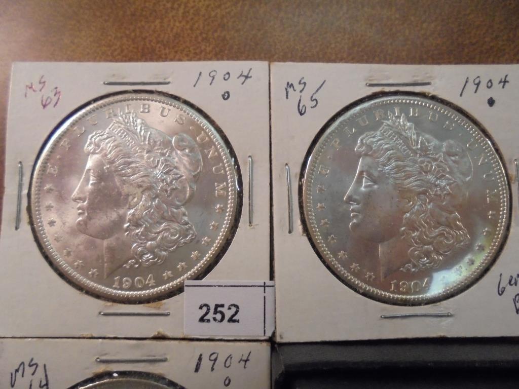 1902-O & 3-1904-O MORGAN SILVER DOLLARS UNC'S - 2