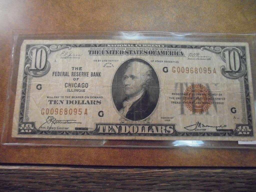 1929 $10 NATIONAL CURRENCY CHICAGO ILLINOIS