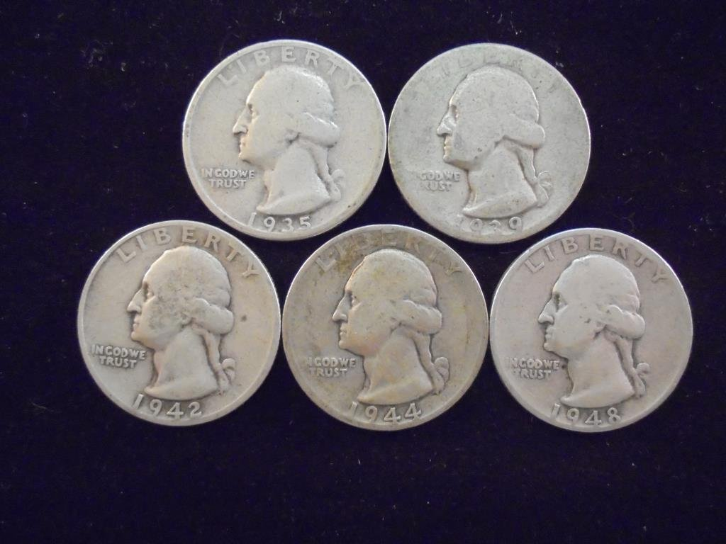 1935-S,39-D,42-S,44-S & 48-S WASHINGTON SILVER