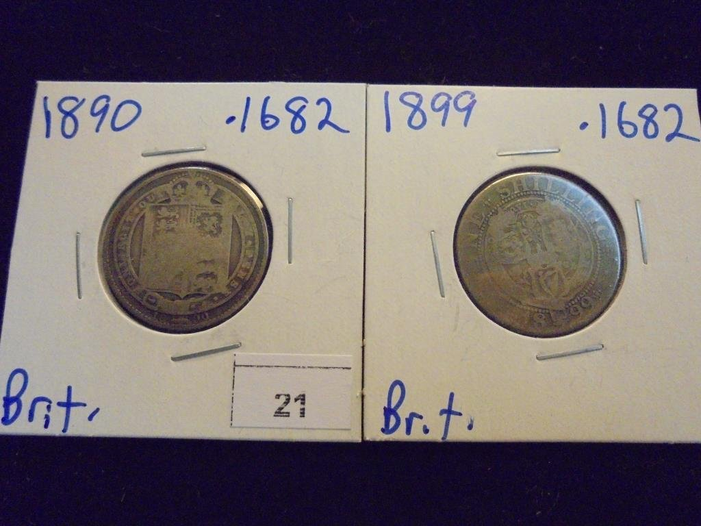 1890 & 1899 BRITISH SILVER SHILLINGS