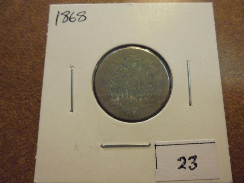 1868 SHIELD NICKEL WITH VIRDIGRIS