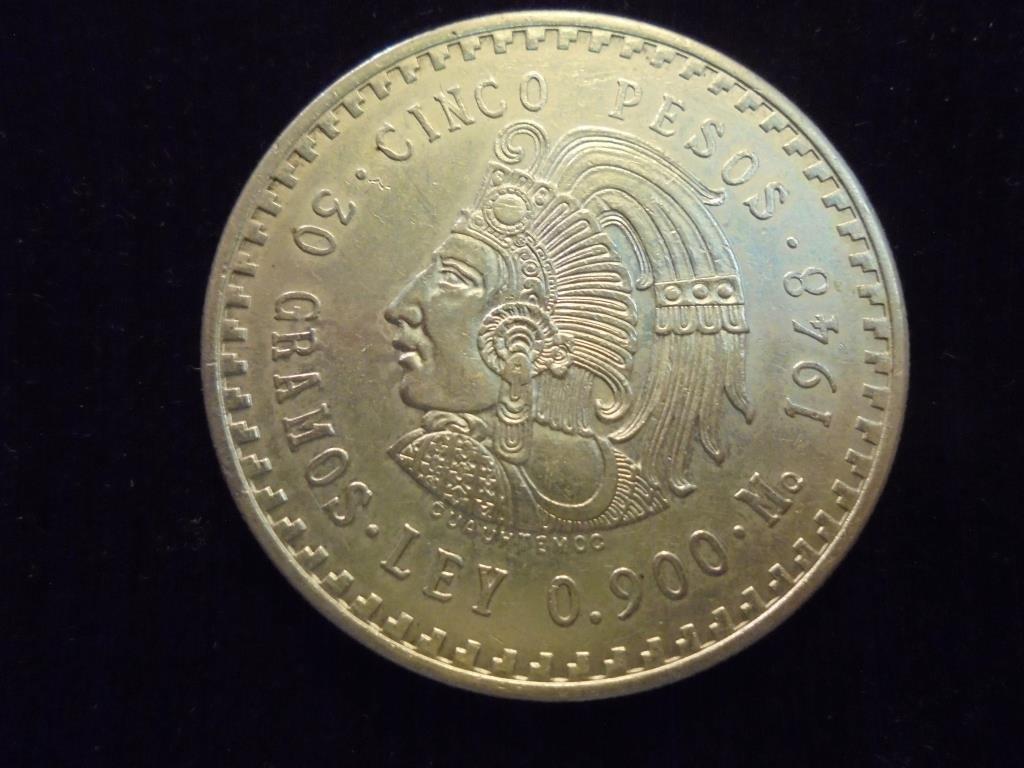 1948 MEXICO SILVER 5 PESOS UNC .8680 OZ. ASW