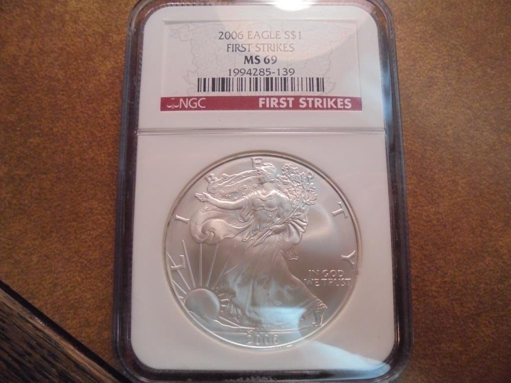 2006 AMERICAN SILVER EAGLE NGC MS69 1ST STRIKES