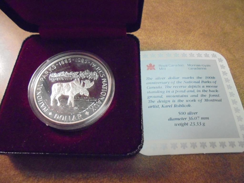 1985 CANADA N.P. PROOF SILVER DOLLAR .3750 OZ. ASW