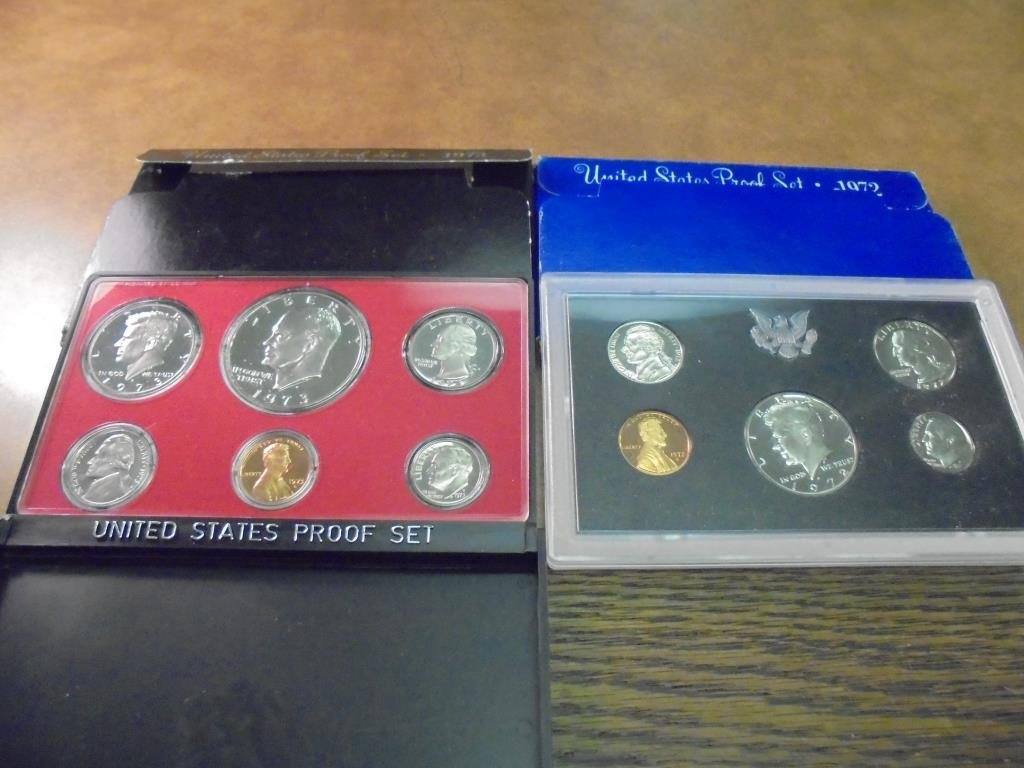 1972 & 1973 US PROOF SETS (WITH BOXES)
