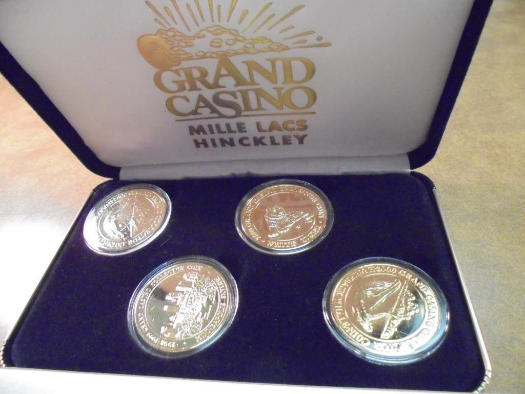 GRAND CASINO 4 GOLD PLATED COLLECTORS COINS