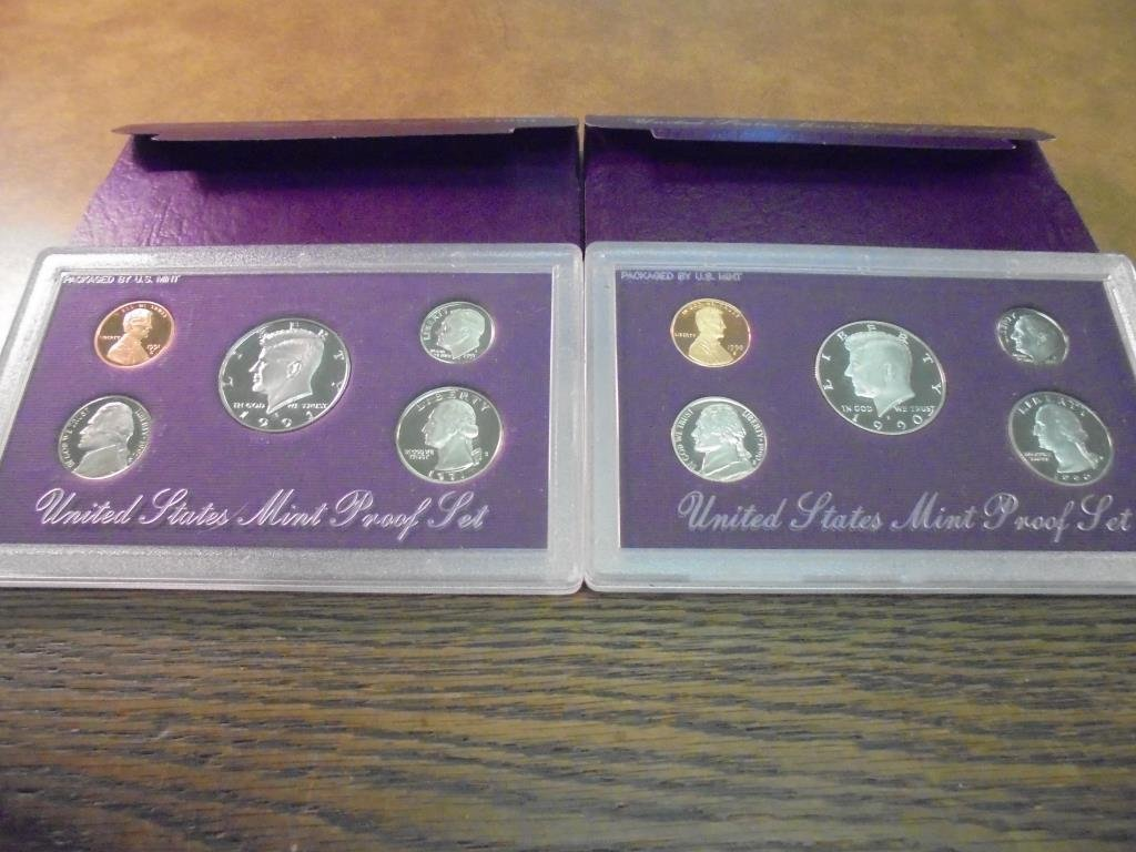 1990 & 1991 US PROOF SETS (WITH BOXES)