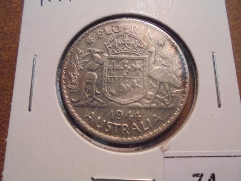 1944 AUSTRALIA SILVER FLORIN  CLEANED