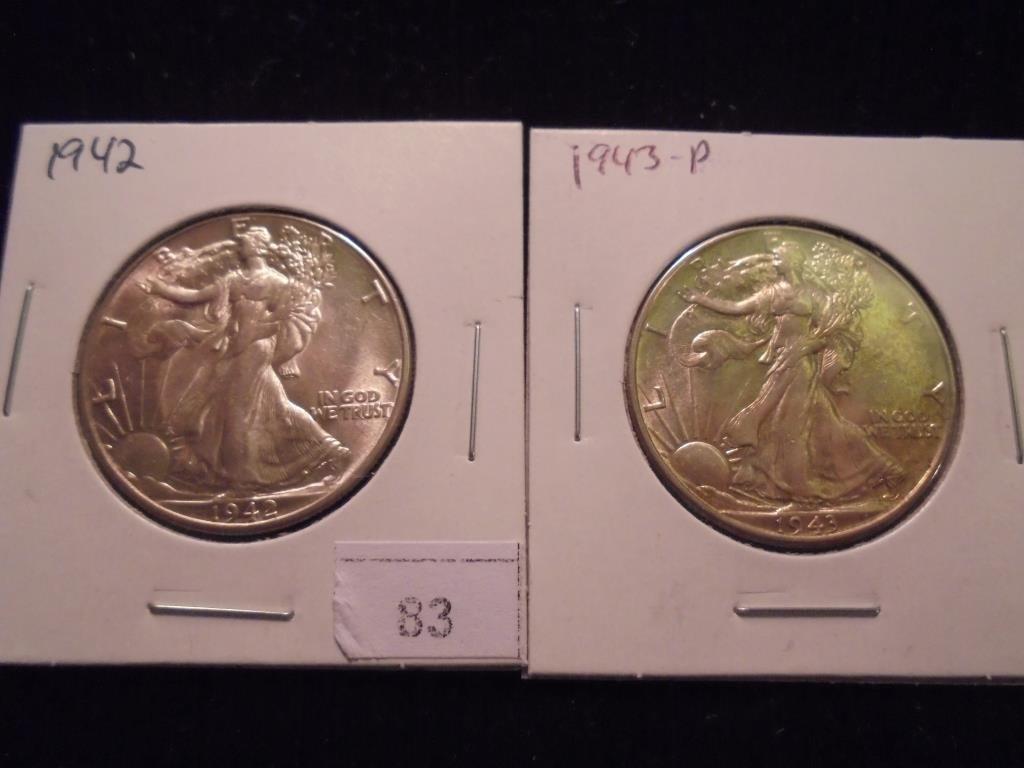 1942 & 1943 WALKING LIBERTY HALF DOLLARS AU'S