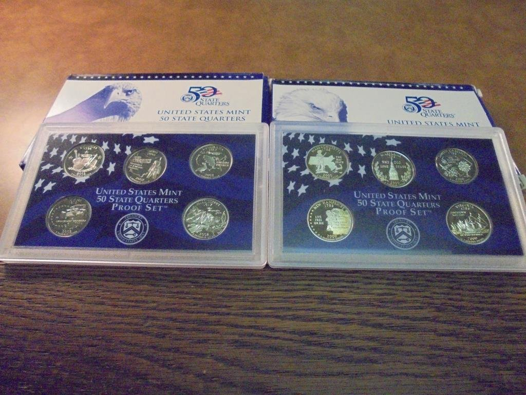 2000 & 2002 US 50 STATE QUARTERS PROOF SETS
