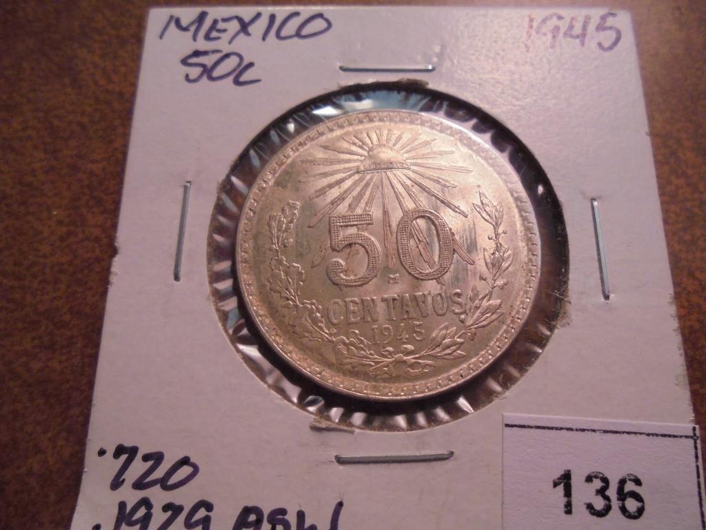 1945 MEXICO CAP & RAYS SILVER 50 CENTAVOS