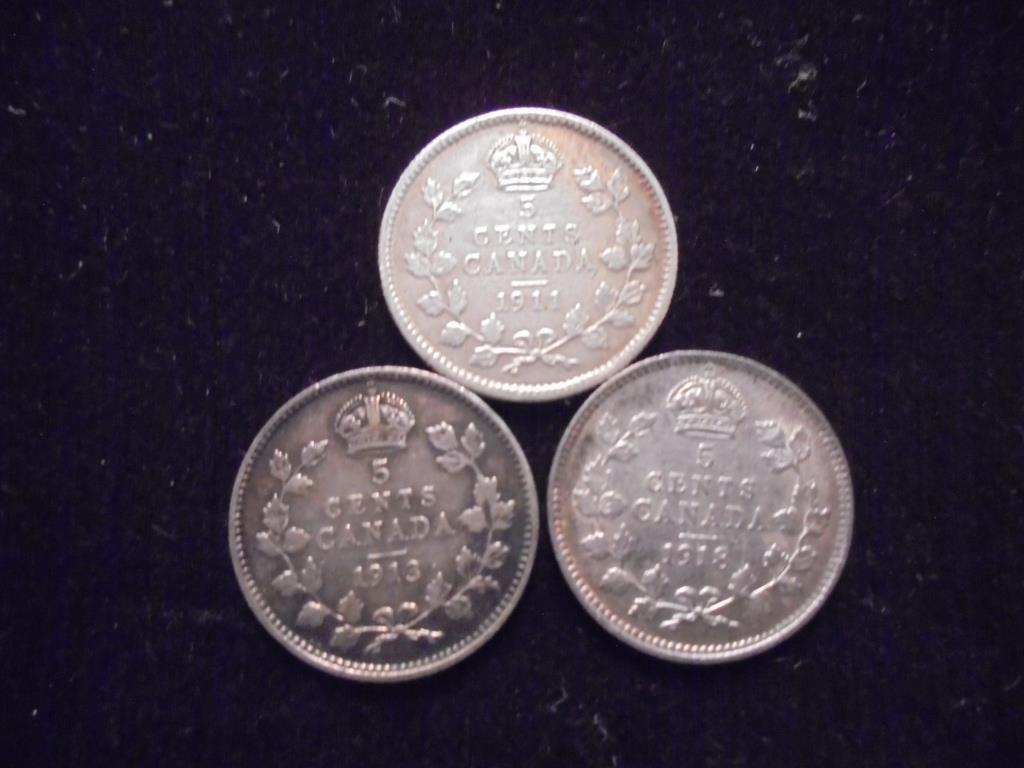 1911,13 & 1918 CANADA SILVER 5 CENTS