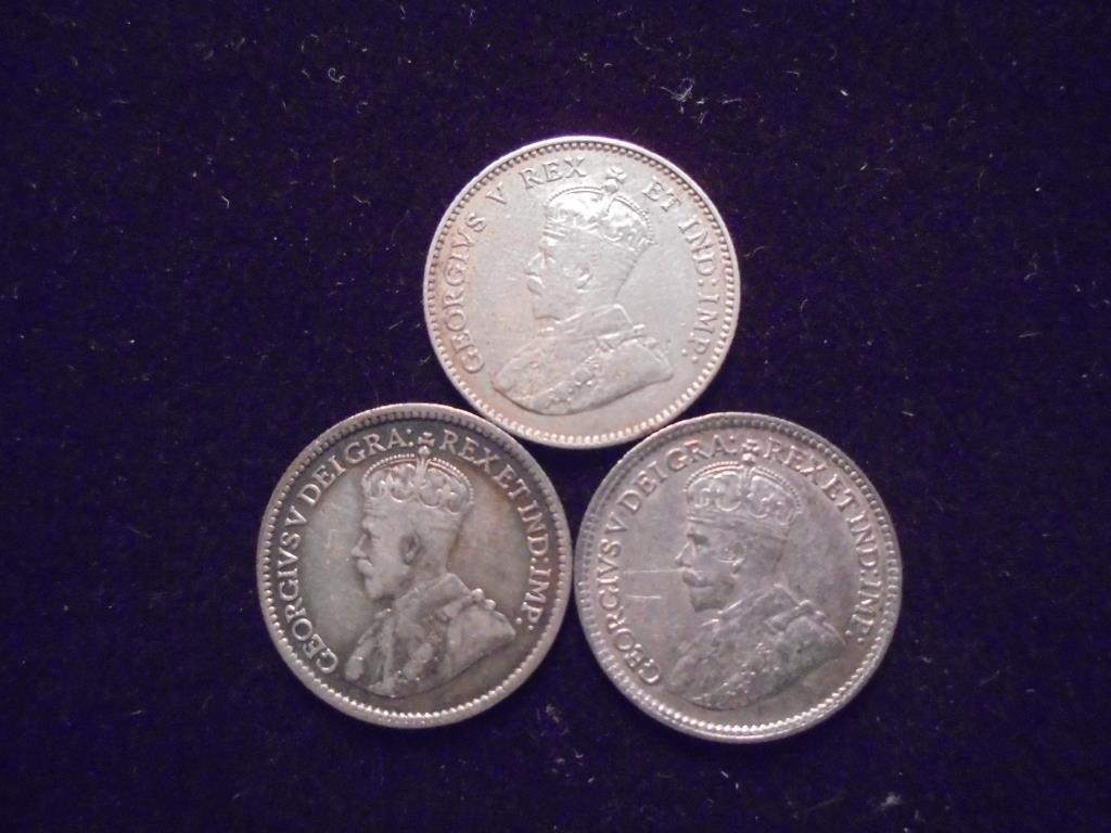 1911,13 & 1918 CANADA SILVER 5 CENTS - 2