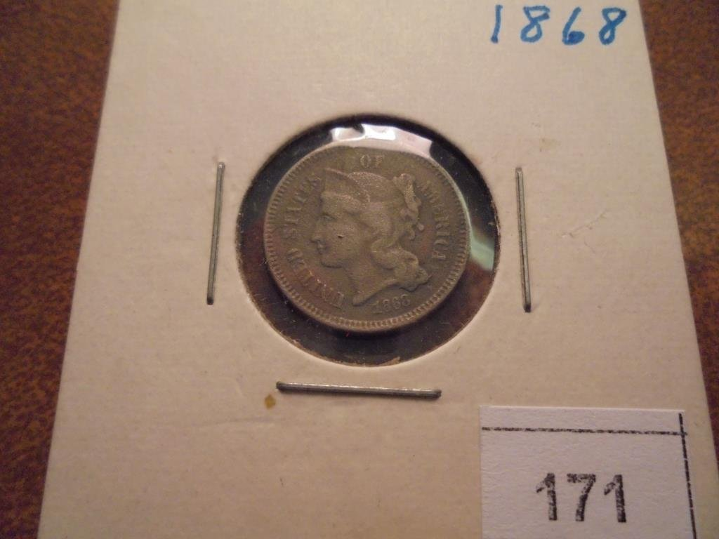 1868 THREE CENT PIECE (NICKEL)
