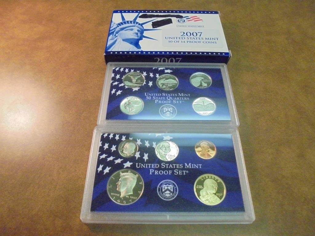 PARTIAL 2007 US PROOF SET (WITH BOX) 10 COINS