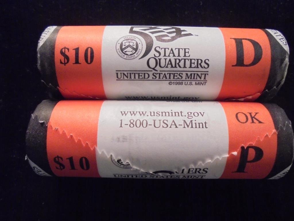 $10 ROLLS OF 2008-P & D OKLAHOMA QUARTERS UNC