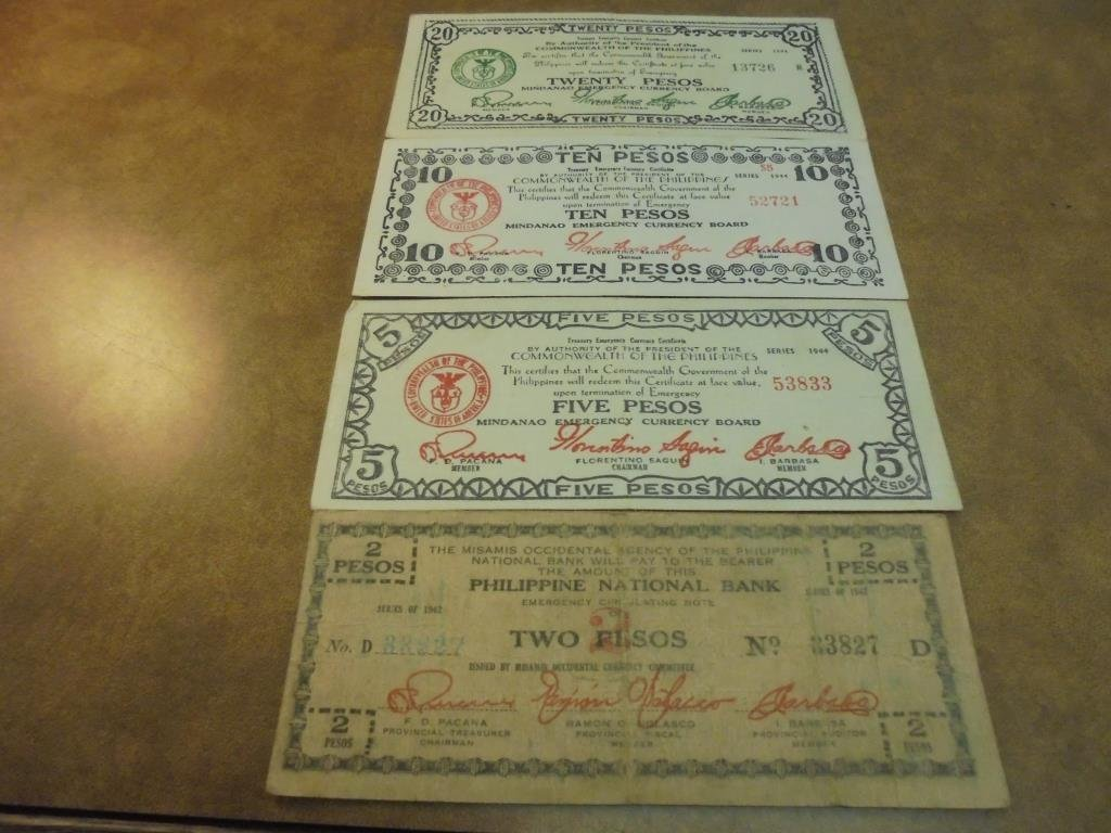 2,5,10 & 20 PESOS WWII PHILIPPINES GUERRILLA MONEY
