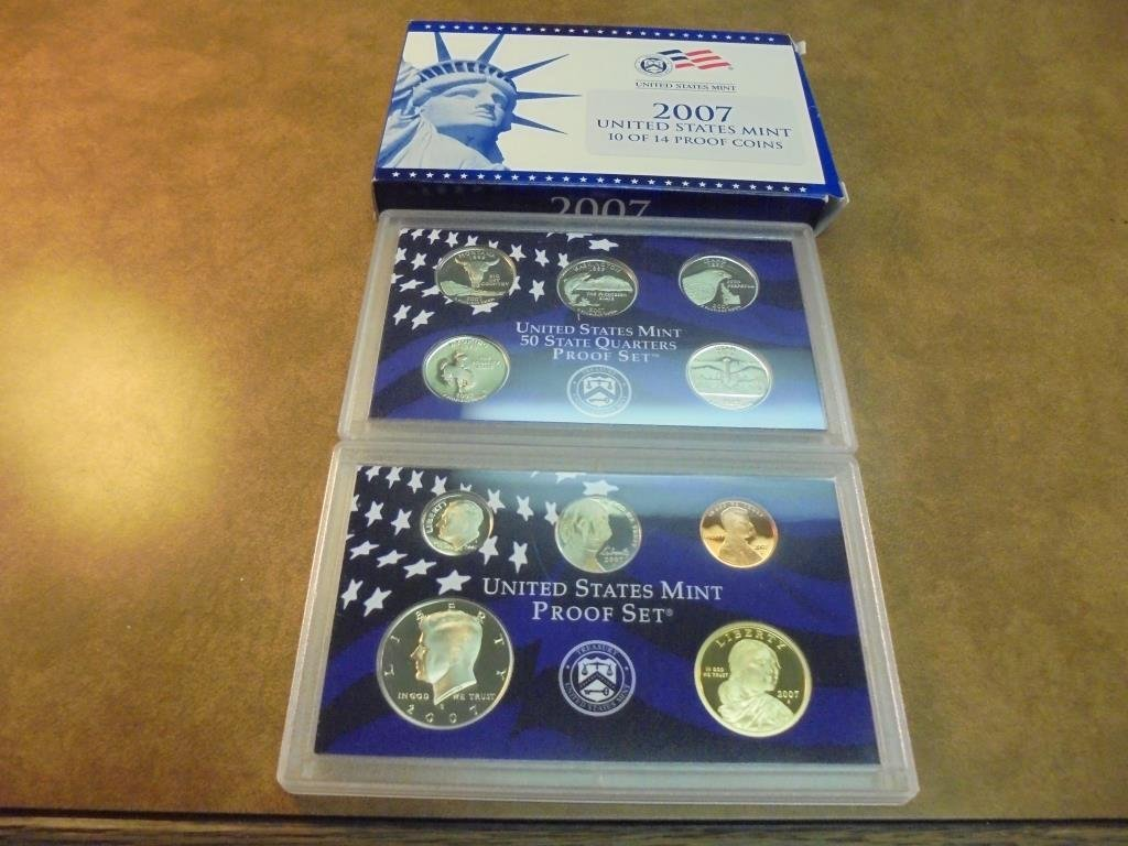PARTIAL 2007 US PROOF SET (WITH BOX) NO PRESIDENT