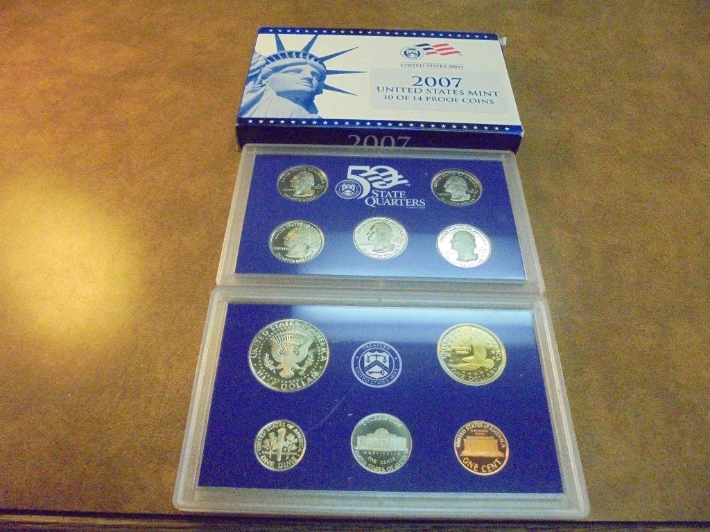 PARTIAL 2007 US PROOF SET (WITH BOX) NO PRESIDENT - 2