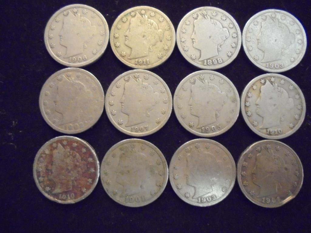 "12 ASSORTED LIBERTY ""V"" NICKELS"