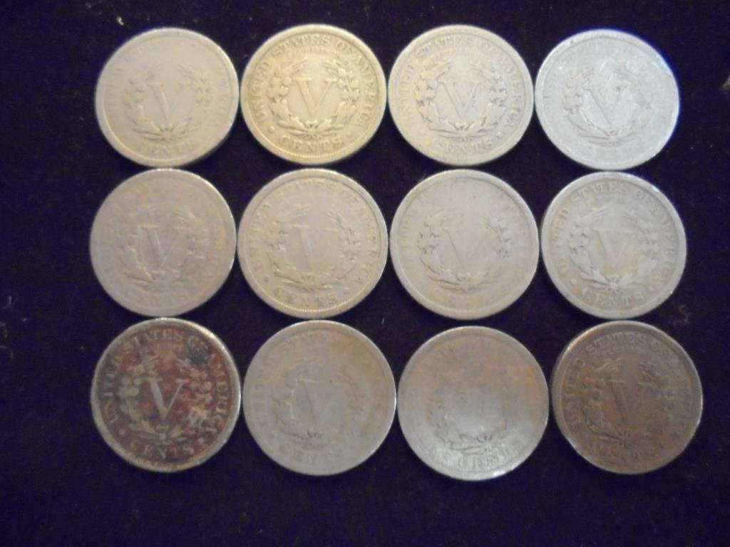"12 ASSORTED LIBERTY ""V"" NICKELS - 2"