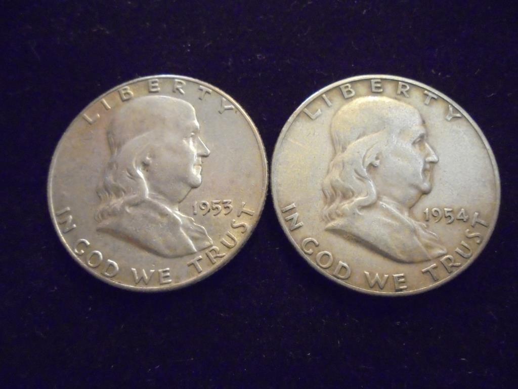 1953-S & 1954-S FRANKLIN HALF DOLLARS