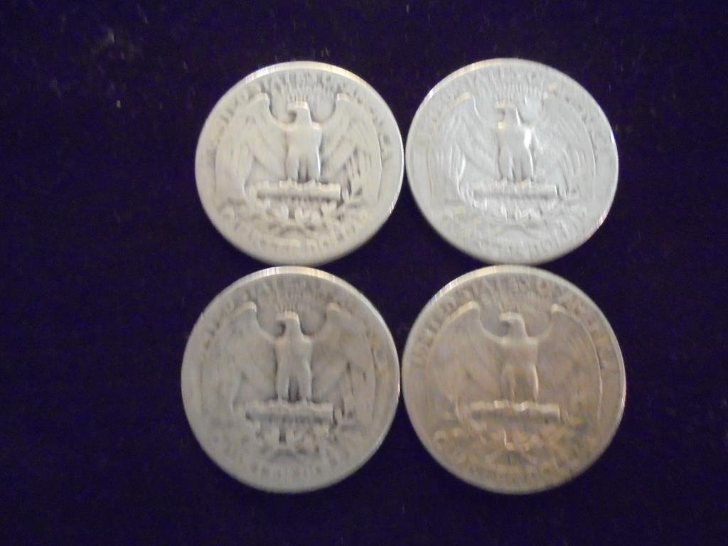 1939,1943,1944 & 1948-D WASHINGTON SILVER QUARTERS - 2