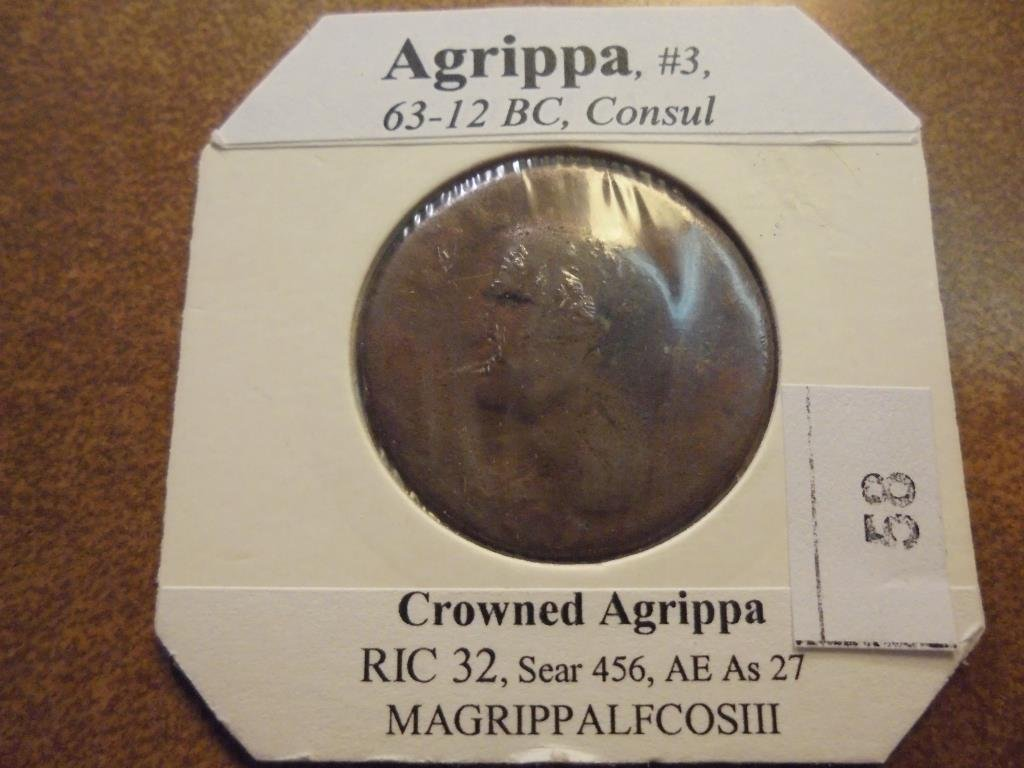 63-12 B.C. AGRIPPA ANCIENT COIN