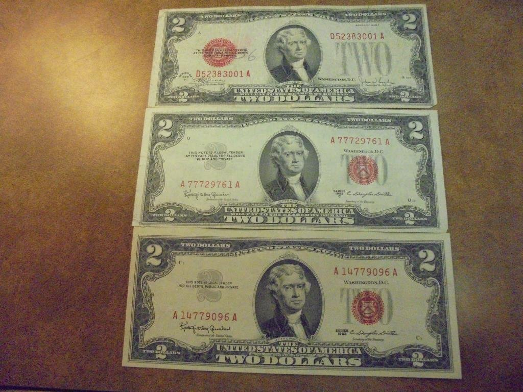 1928-F,53-C & 63 $2 US RED SEAL NOTES