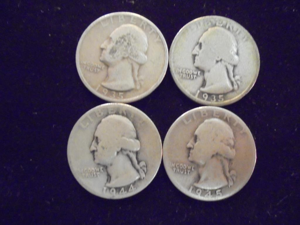 1935,35-S,44-D & 45-D WASHINGTON SILVER QUARTERS